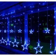 LED svetelný záves  - GIRLANDA-HVIEZDY, 3,5m reťaz, 138xLED, IP20, modrá