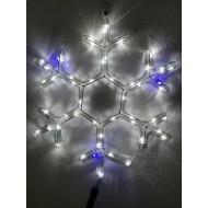 LED snehová vločka studená biela s modrým FLASH efektom
