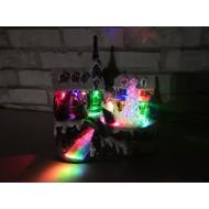 LED svietiaca krajinka na 3x AA batérie s možnosťou zapnutia vianočných piesní