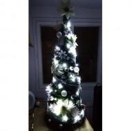 Vianočný stromček s ozdobami a LED svetielkami ZDARMA - 130cm, biely