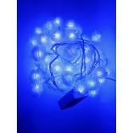 LED vianočné osvetlenie - snehové gule, 10m reťaz, 100xLED, IP20, modrá