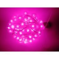 LED vianočné osvetlenie, snehové gule, 10m reťaz, 100xLED, IP20, ružová