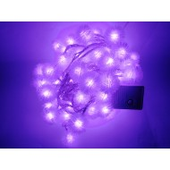 LED vianočné osvetlenie - snehové gule, 10m reťaz, 100xLED, IP20, fialová