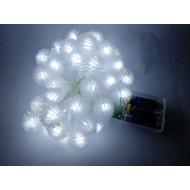 LED vianočné osvetlenie - snehové gule, 3m reťaz, 20xLED, IP20, 3xAA batérie, studená biela