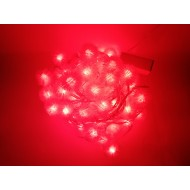 LED vianočné osvetlenie - snehové gule, 10m reťaz, 100xLED, IP20, červená