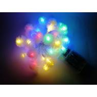 LED vianočné osvetlenie, snehové gule, 4m reťaz, 40xLED, IP20, 3xAA batérie, RGB viacfarebné
