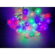 LED vianočné osvetlenie - snehové gule, 10m reťaz, 100xLED, IP20, RGB viacfarebné