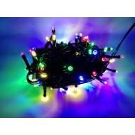 PROFI LED vianočné osvetlenie 10m reťaz so zeleným káblom, 100xLED, IP44, viacfarebná
