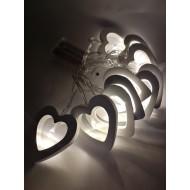 LED drevené srdiečka, 10xLED, 1,8 m, 2xAA batérie, teplá biela