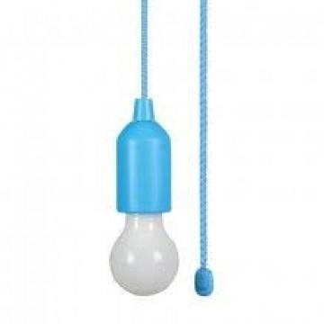SET 3ks - Závesných LED svietidiel so žiarovkou na ručné zapínanie, 3W, 3xAAA batérie,modrá
