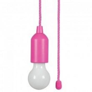 SET 3ks- Závesných LED svietidiel so žiarovkou na ručné zapínanie, 3W, 3xAAA batérie,ružová