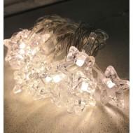 LED svetelná reťaz na batérie, 20x LED, hviezdy - teplá biela