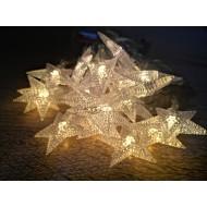 LED Vianočná svetelná reťaz- HVIEZDY 3m, 2xAA batérie,20LED, IP20, teplá biela