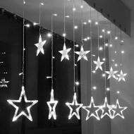 LED vianočné osvetlenie - GIRLANDA-HVIEZDY, 4.5m reťaz, 120xLED, IP20, studená biela