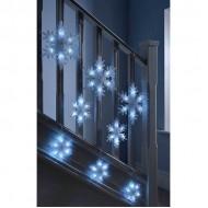 LED vianočné osvetlenie - GIRLANDA-Snehové vločky, 4.5m reťaz, 120xLED, IP20, studená biela