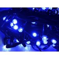 PROFI vianočná EXTRA HRUBÁ LED svetelná reťaz vonkajšia na spájanie FLASH - 100LED - 8m, modrá + studená biela, IP44