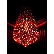 Dizajnová 3D LED žiarovka 3W bulb, E27, červená