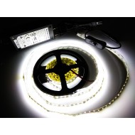 Kompletná sada LED pásik 5m, SMD 3014, 120 led/m, 9,5W/m, studená biela, IP20, adaptér 60W