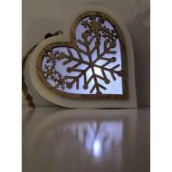 LED drevené srdiečko s ornamentom na batériu, chladná biela