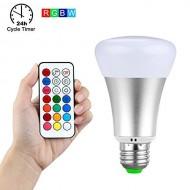 Viacfarebná,10W,  LED žiarovka RGB + studená biela