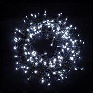 LED vianočné osvetlenie 10m reťaz so zeleným káblom , 100xLED, IP44, studená biela