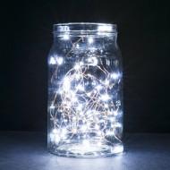 LED vianočné osvetlenie-MINI, 2m, 2xAA batérie, studená biela