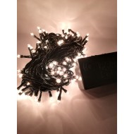 LED vianočné osvetlenie 6m reťaz so zeleným káblom, 140xLED, IP44, teplá biela