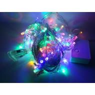 LED vianočné osvetlenie, 10m reťaz, 100xLED, IP20 RGB viacfarebná