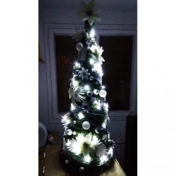 Vianočný stromček s ozdobami a LED svetielkami ZDARMA - 180 cm