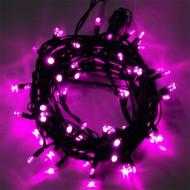 LED vianočné osvetlenie 10m reťaz so zeleným káblom, 100xLED, IP44, ružová