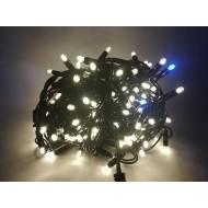 PROFI vianočná EXTRA HRUBÁ LED svetelná reťaz vonkajšia na spájanie FLASH - 200LED - 16,5m teplá biela + modrá, IP44
