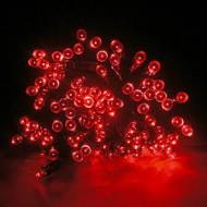 LED vianočné osvetlenie 10m reťaz so zeleným káblom, 100xLED, IP44, červená