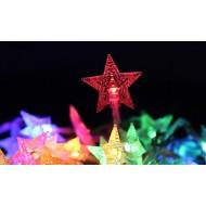 LED Vianočná svetelná reťaz- HVIEZDY 3 m, 3xAA batérie,20LED, IP20, viacfarebná