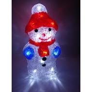 LED vianočný snehuliak - svetelná dekorácia, studená biela