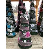 Vianočný stromček s ozdobami a LED svetielkami ZDARMA - 130cm, ružovostrieborný