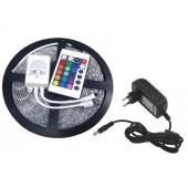 Led pásik RGB viacfarebný 5m, 300 led SMD 3528, viacfarebný, diaľkové ovládanie (24 tl.), interiérový pás, adaptér