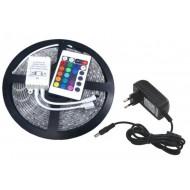 Kompletná sada led pásik 5m, SMD 3528, 60 led/m, 4,8W/m, RGB, IP20, IR ovládač, adaptér 24W