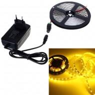 Kompletná sada led pásik 5m, SMD 3528, 60 led/m, 4,8W/m, IP65, žltý, adaptér 24W