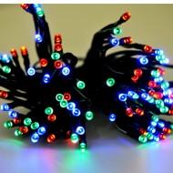 LED vianočné osvetlenie solárne, 12m reťaz, RGB viacfarebná