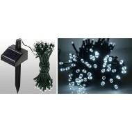 LED vianočné osvetlenie solárne, 12m reťaz, IP44,studená  biela